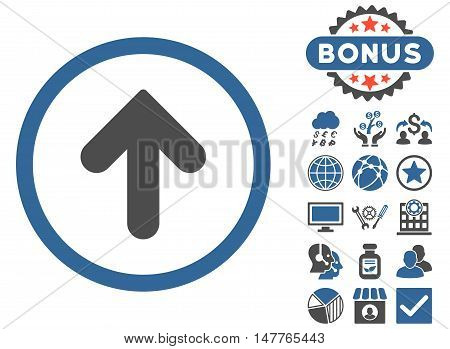 Arrow Up icon with bonus images. Vector illustration style is flat iconic bicolor symbols, cobalt and gray colors, white background.