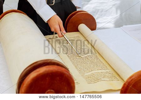 Jewish Man Dressed In Ritual Clothing  Torah At Bar Mitzvah 5 September 2016 Usa