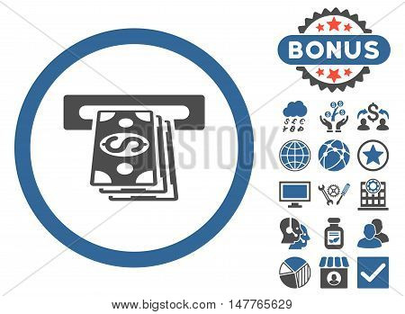 Atm Cashout icon with bonus pictogram. Vector illustration style is flat iconic bicolor symbols, cobalt and gray colors, white background.