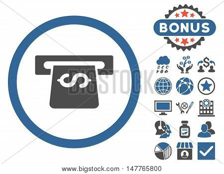Atm icon with bonus images. Vector illustration style is flat iconic bicolor symbols, cobalt and gray colors, white background.