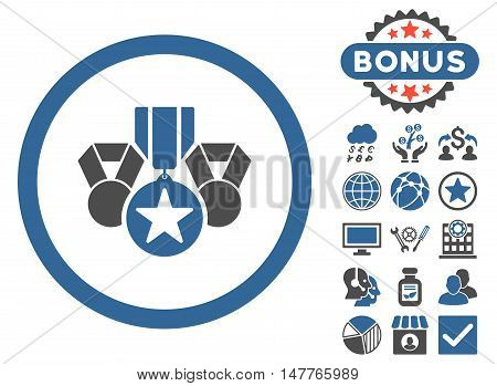Awards icon with bonus elements. Vector illustration style is flat iconic bicolor symbols, cobalt and gray colors, white background.
