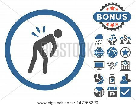 Backache icon with bonus images. Vector illustration style is flat iconic bicolor symbols, cobalt and gray colors, white background.