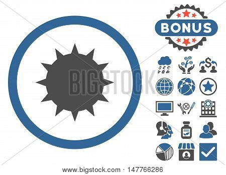 Bacterium icon with bonus pictogram. Vector illustration style is flat iconic bicolor symbols, cobalt and gray colors, white background.