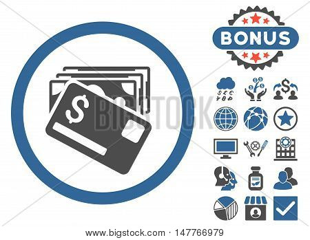 Banknotes and Card icon with bonus symbols. Vector illustration style is flat iconic bicolor symbols, cobalt and gray colors, white background.