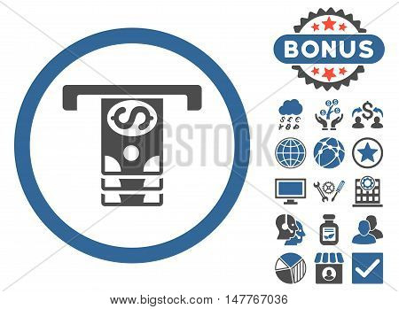 Banknotes Withdraw icon with bonus design elements. Vector illustration style is flat iconic bicolor symbols, cobalt and gray colors, white background.