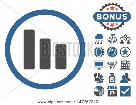 Bar Chart Decrease icon with bonus symbols. Vector illustration style is flat iconic bicolor symbols, cobalt and gray colors, white background.