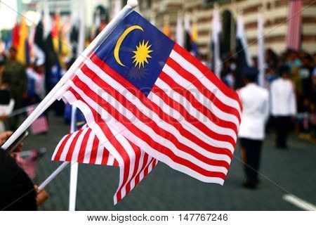 Malaysia flag waving during national day event