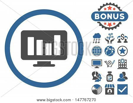 Bar Chart Monitoring icon with bonus pictures. Vector illustration style is flat iconic bicolor symbols, cobalt and gray colors, white background.