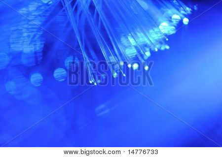 Blue fiber optics close up with shallow DOF