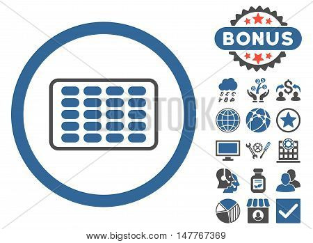 Blister icon with bonus elements. Vector illustration style is flat iconic bicolor symbols, cobalt and gray colors, white background.