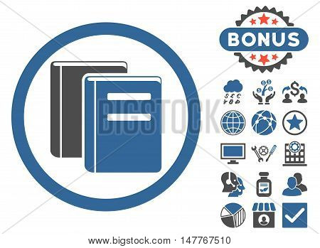 Books icon with bonus pictures. Vector illustration style is flat iconic bicolor symbols, cobalt and gray colors, white background.