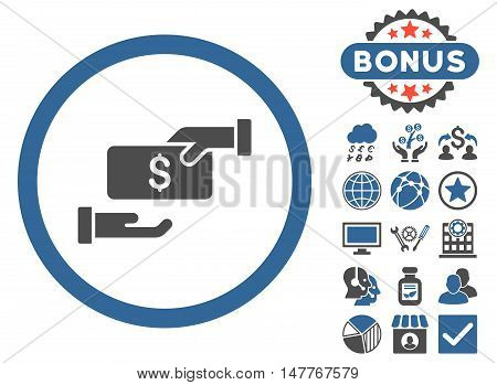 Bribe icon with bonus images. Vector illustration style is flat iconic bicolor symbols, cobalt and gray colors, white background.