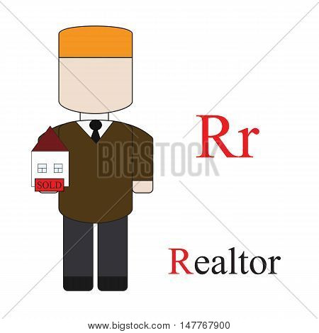 Letter R alphabet of professions. Realtor. ABC education cards for kids.