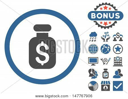 Business Remedy icon with bonus elements. Vector illustration style is flat iconic bicolor symbols, cobalt and gray colors, white background.