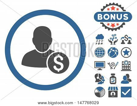 Businessman icon with bonus pictogram. Vector illustration style is flat iconic bicolor symbols, cobalt and gray colors, white background.