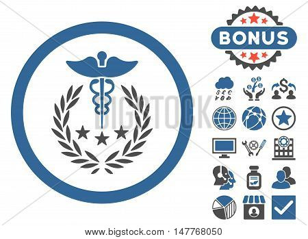Caduceus Logo icon with bonus pictogram. Vector illustration style is flat iconic bicolor symbols, cobalt and gray colors, white background.