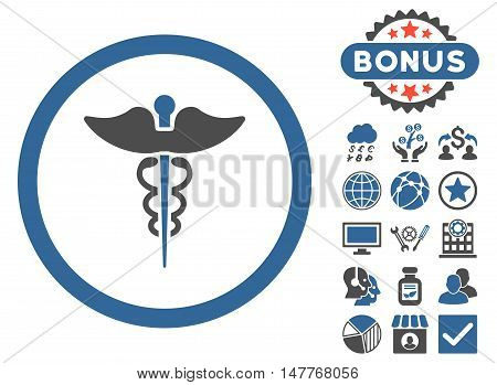 Caduceus icon with bonus elements. Vector illustration style is flat iconic bicolor symbols, cobalt and gray colors, white background.