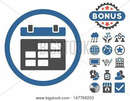 Calendar icon with bonus elements. Vector illustration style is flat iconic bicolor symbols, cobalt and gray colors, white background.