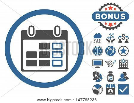 Calendar Week icon with bonus symbols. Vector illustration style is flat iconic bicolor symbols, cobalt and gray colors, white background.