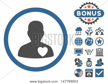 Cardiology Patient icon with bonus symbols. Vector illustration style is flat iconic bicolor symbols, cobalt and gray colors, white background.