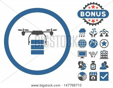 Cargo Drone icon with bonus pictures. Vector illustration style is flat iconic bicolor symbols, cobalt and gray colors, white background.