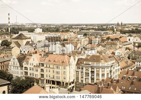 Poznan, Poland - June 28, 2016: Vintage Photo, View On Old And Modern Buildings In Polish Town Pozna
