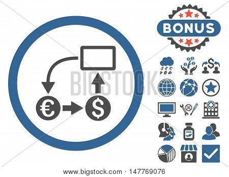 Cashflow Euro Exchange icon with bonus symbols. Vector illustration style is flat iconic bicolor symbols, cobalt and gray colors, white background.