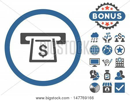 Cashout Slot icon with bonus images. Vector illustration style is flat iconic bicolor symbols, cobalt and gray colors, white background.