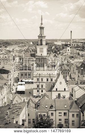 Poznan, Poland - June 28, 2016: Black And White Photo, Town Hall, Old And Modern Buildings In City P