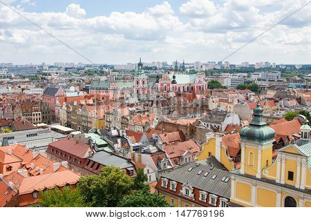 Poznan, Poland - June 28, 2016: View On Buildings And Collegiate Church In Polish Town Poznan