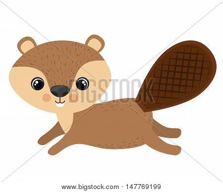 Beaver cartoon icon. Forest animal theme. Isolated design. Vector illustration