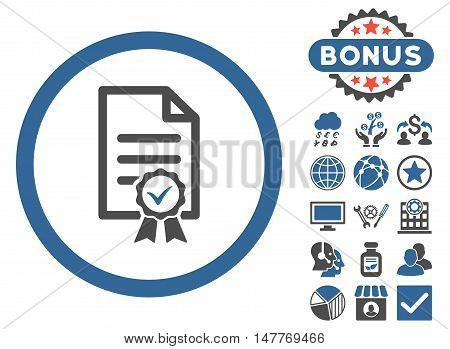 Certified icon with bonus images. Vector illustration style is flat iconic bicolor symbols, cobalt and gray colors, white background.