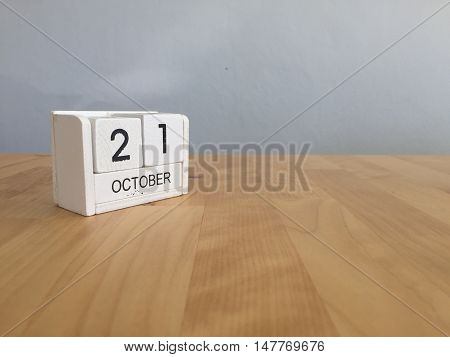 October 21St .october 21 White Wooden Calendar On Vintage Wood Abstract Background.autumn Day.copysp
