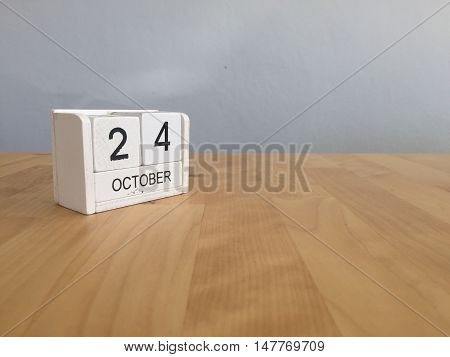 October 24Th.october 24 White Wooden Calendar On Vintage Wood Abstract Background.autumn Day.copyspa