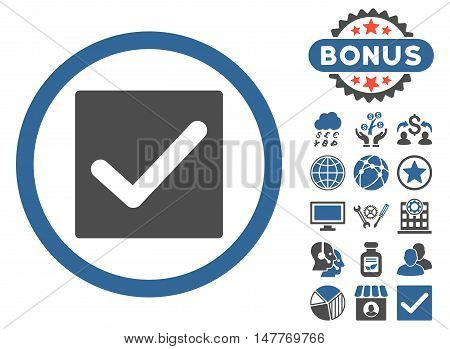 Check icon with bonus symbols. Vector illustration style is flat iconic bicolor symbols, cobalt and gray colors, white background.