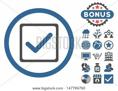 Checkbox icon with bonus images. Vector illustration style is flat iconic bicolor symbols, cobalt and gray colors, white background.