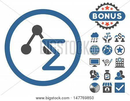 Chemical Formula icon with bonus pictures. Vector illustration style is flat iconic bicolor symbols, cobalt and gray colors, white background.