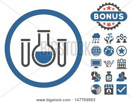 Chemical Vessels icon with bonus pictogram. Vector illustration style is flat iconic bicolor symbols, cobalt and gray colors, white background.