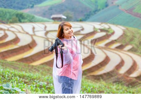 Asian women take a photo green terraced rice field in Pa Pong Pieng Mae Chaem Chiang Mai Thailand