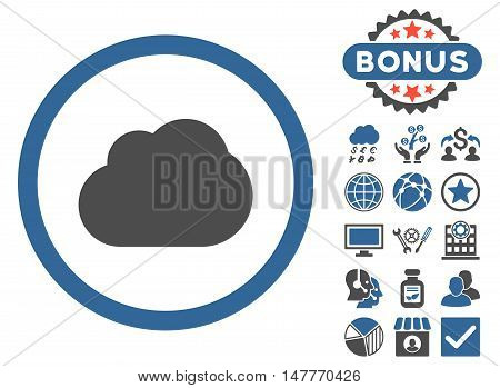 Cloud icon with bonus images. Vector illustration style is flat iconic bicolor symbols, cobalt and gray colors, white background.