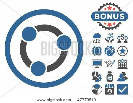 Collaboration icon with bonus pictures. Vector illustration style is flat iconic bicolor symbols, cobalt and gray colors, white background.