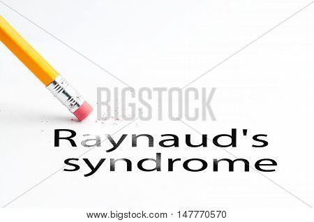 Closeup of pencil eraser and black raynaud's syndrome text. Raynaud's syndrome. Pencil with eraser.