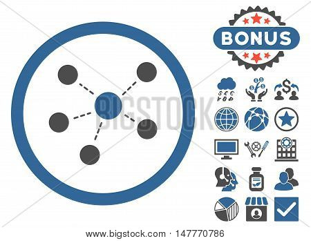 Connections icon with bonus elements. Vector illustration style is flat iconic bicolor symbols, cobalt and gray colors, white background.