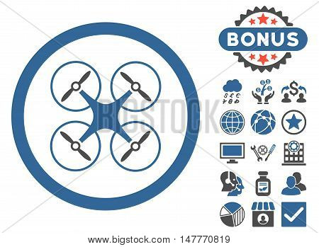 Copter icon with bonus images. Vector illustration style is flat iconic bicolor symbols, cobalt and gray colors, white background.