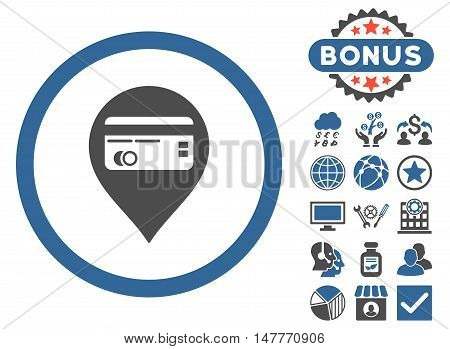 Credit Card Pointer icon with bonus design elements. Vector illustration style is flat iconic bicolor symbols, cobalt and gray colors, white background.