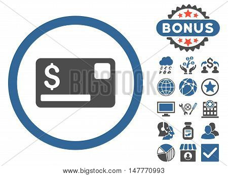 Credit Card icon with bonus elements. Vector illustration style is flat iconic bicolor symbols, cobalt and gray colors, white background.