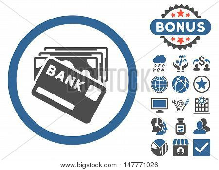 Credit Money icon with bonus pictogram. Vector illustration style is flat iconic bicolor symbols, cobalt and gray colors, white background.
