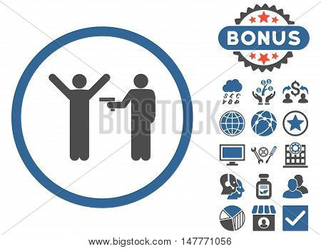 Crime icon with bonus images. Vector illustration style is flat iconic bicolor symbols, cobalt and gray colors, white background.