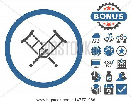 Crutches icon with bonus pictogram. Vector illustration style is flat iconic bicolor symbols, cobalt and gray colors, white background.