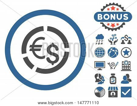 Currency Diagram icon with bonus symbols. Vector illustration style is flat iconic bicolor symbols, cobalt and gray colors, white background.